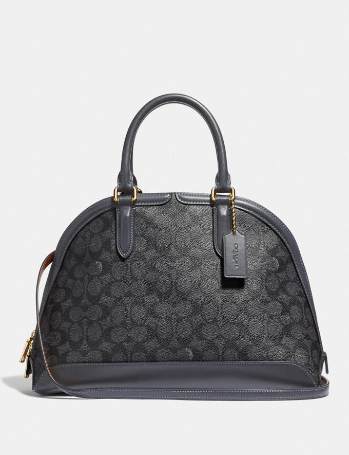 Coach Quinn Satchel in Signature Canvas Charcoal/Midnight Navy/Gold DEFAULT_CATEGORY