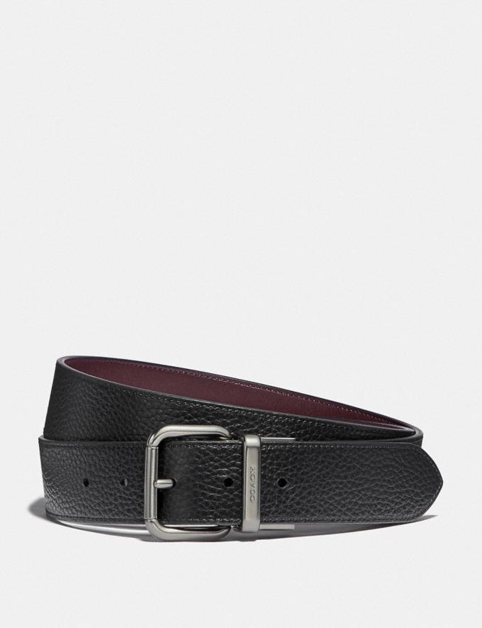 Coach Dapped Coach Roller Cut-To-Size Reversible Belt Black/Oxblood/Black Antique Nickel