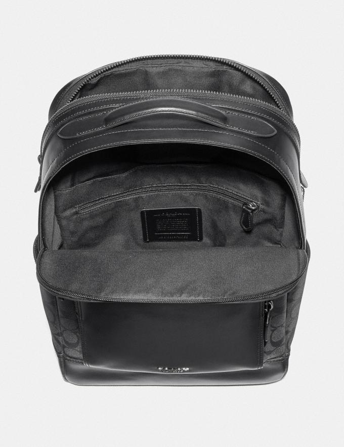 Coach Graham Backpack in Signature Canvas Charcoal/Black/Black Antique Nickel  Alternate View 1