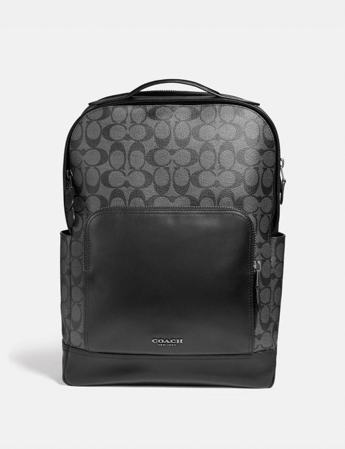 Coach Graham Backpack in Signature Canvas Charcoal/Black/Black Antique Nickel