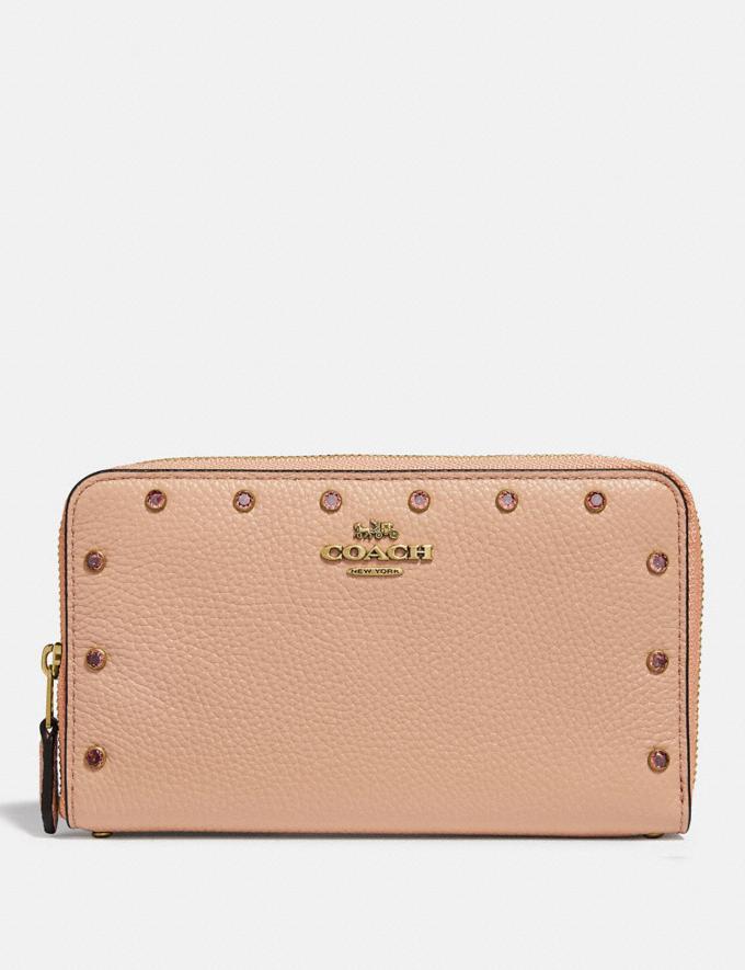 Coach Medium Zip Around Wallet With Crystal Rivets Nude Pink/Brass Explore Women Explore Women Wallets