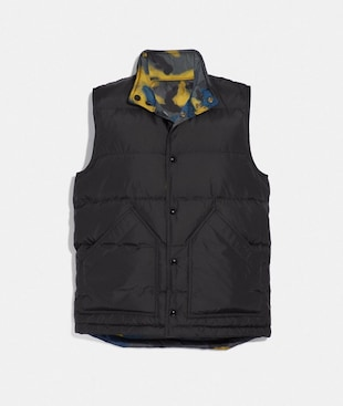 MIXED CAMO REVERSIBLE DOWN VEST