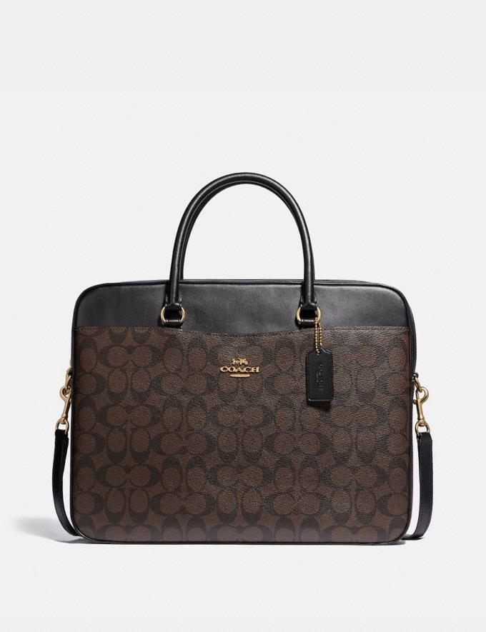 Coach Laptop Bag in Signature Canvas Brown/Black/Light Gold