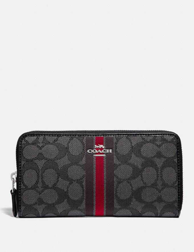 Coach Accordion Zip Wallet in Signature Jacquard With Stripe Sv/Red Multi