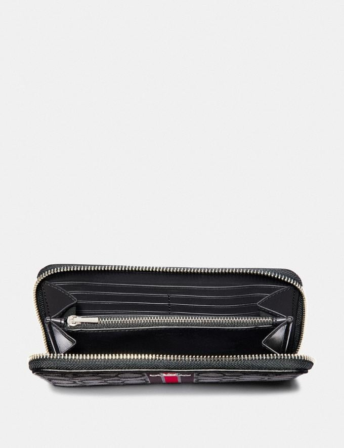 Coach Accordion Zip Wallet in Signature Jacquard With Stripe Sv/Red Multi  Alternate View 1