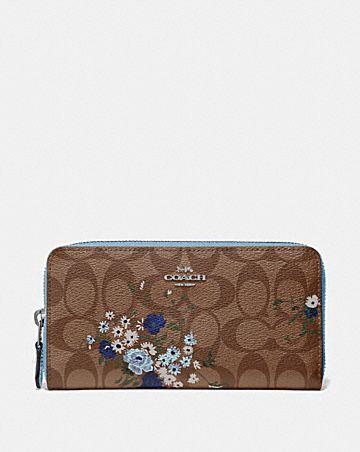 accordion zip wallet in signature canvas with floral bundle print