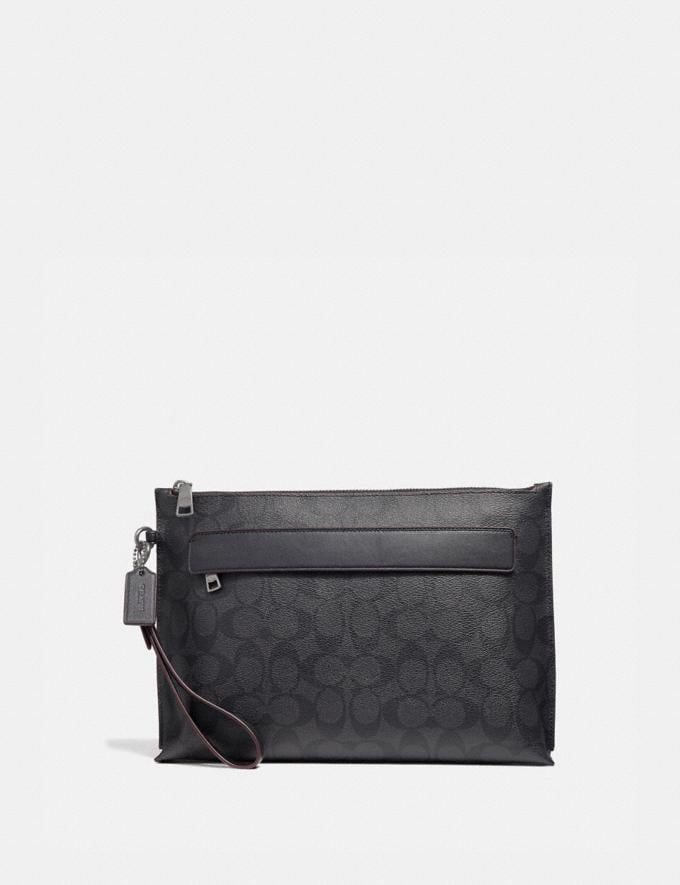 Coach Carryall Pouch in Signature Canvas Black/Black/Oxblood Explore Men Explore Men Travel