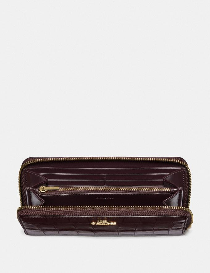 Coach Accordion Zip Wallet Oxblood 1/Imitation Gold Clearance Wallets & Wristlets Alternate View 1