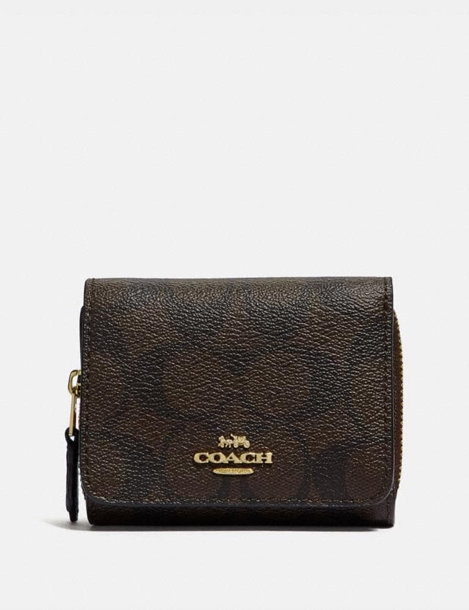 Coach Small Trifold Wallet in Signature Canvas Brown/Black/Imitation Gold Deals Finds Under $100