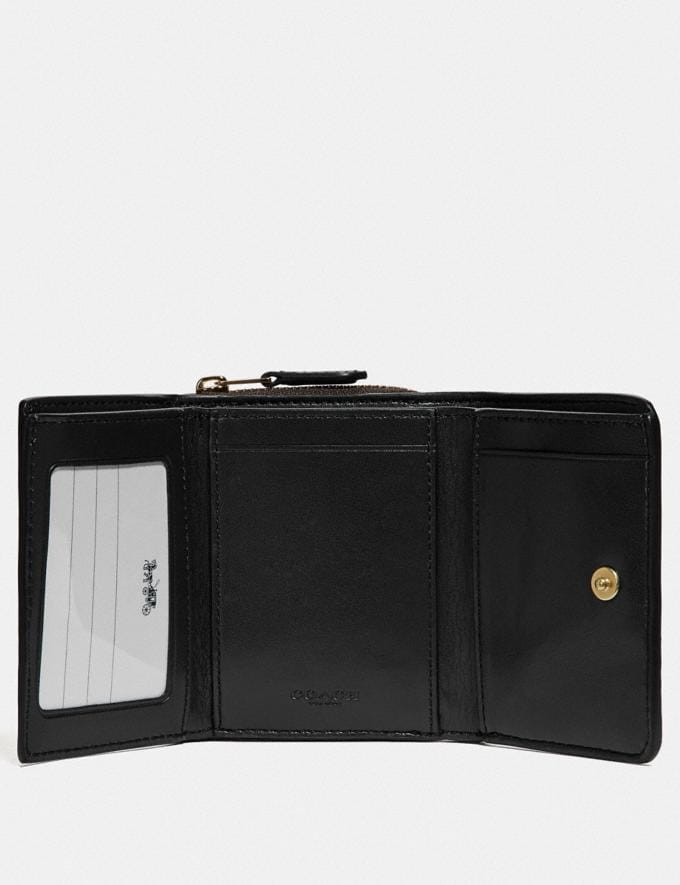 Coach Small Trifold Wallet in Signature Canvas Brown/Black/Imitation Gold  Alternate View 1