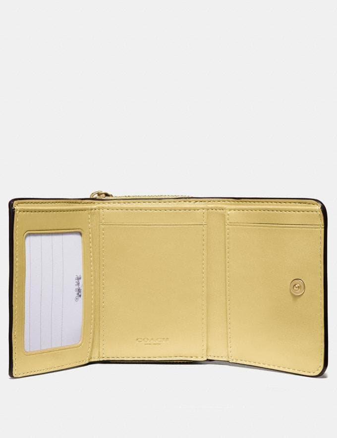 Coach Small Trifold Wallet in Signature Canvas Khaki/Sunflower/Imitation Gold Clearance Clearance Clearout Alternate View 1