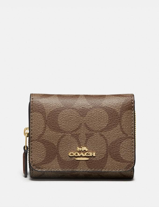 Coach Small Trifold Wallet in Signature Canvas Khaki/Saddle 2/Light Gold