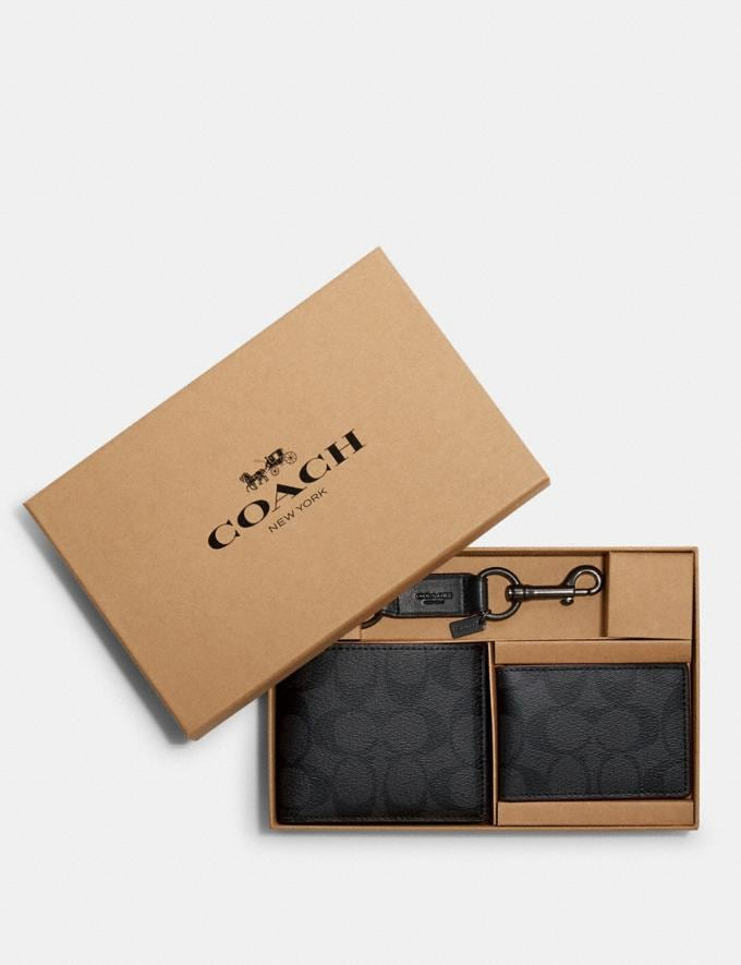 Coach Boxed 3-In-1 Wallet Gift Set in Signature Canvas Black/Black/Oxblood