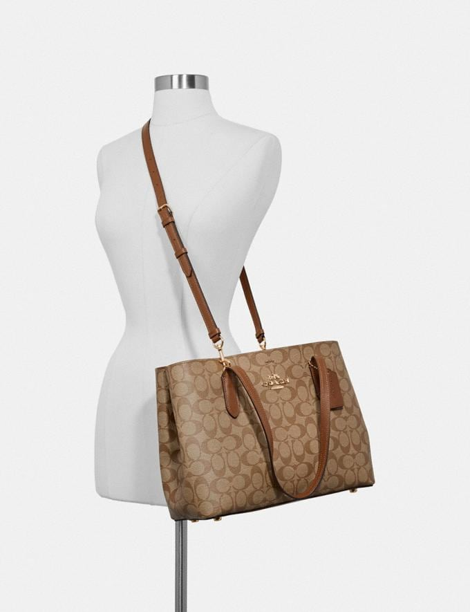 Coach Avenue Carryall in Signature Canvas Light Khaki/Chalk/Imitation Gold Explore Bags Bags Business Bags Alternate View 2