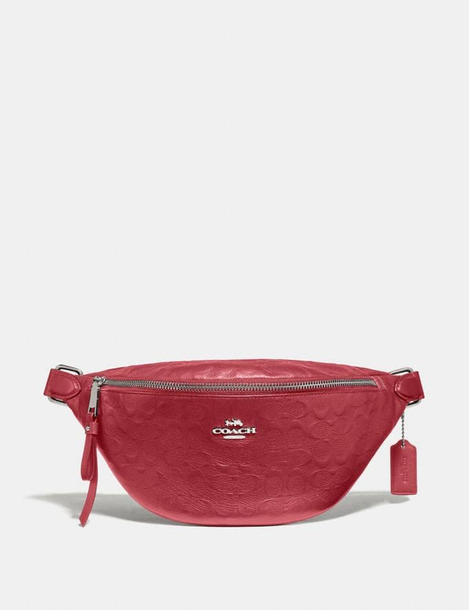 Coach Belt Bag in Signature Leather Washed Red/Silver Bags Crossbody Bags