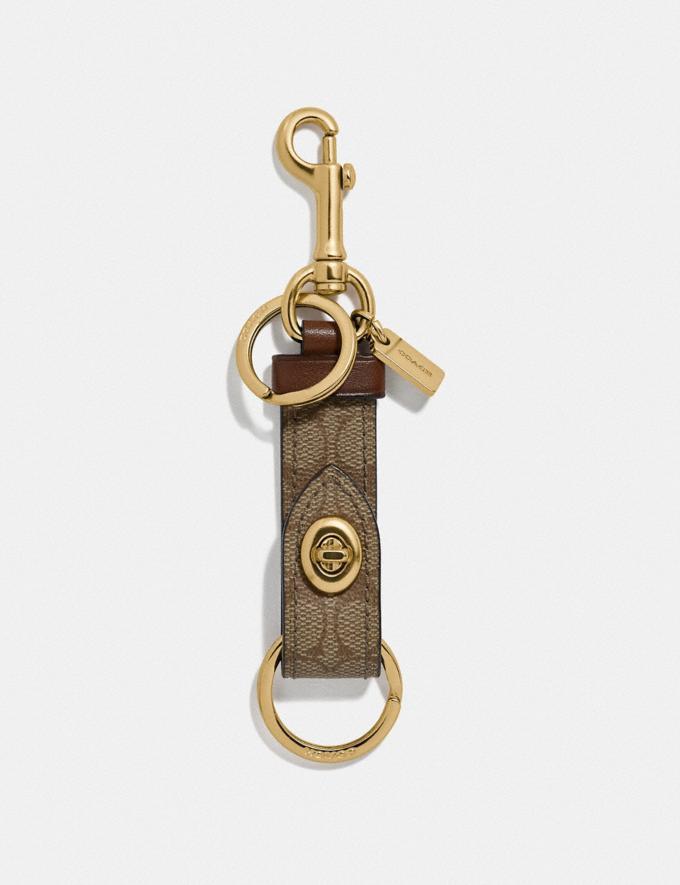 Coach Trigger Snap Bag Charm in Signature Canvas Khaki/Gold