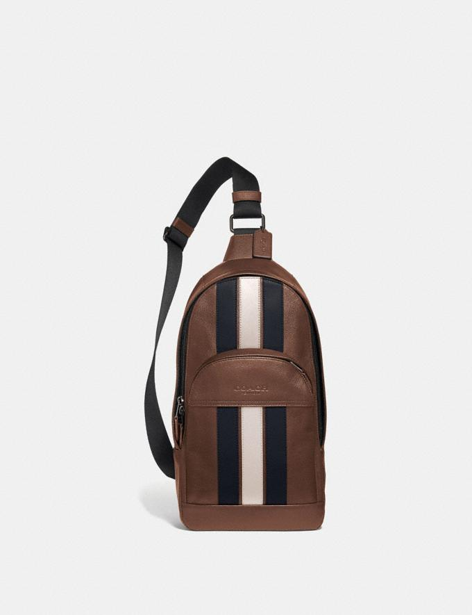 Coach Houston Pack With Varsity Stripe Saddle/Midnight Nvy/Chalk/Black Antique Nickel Explore Men Explore Men Travel