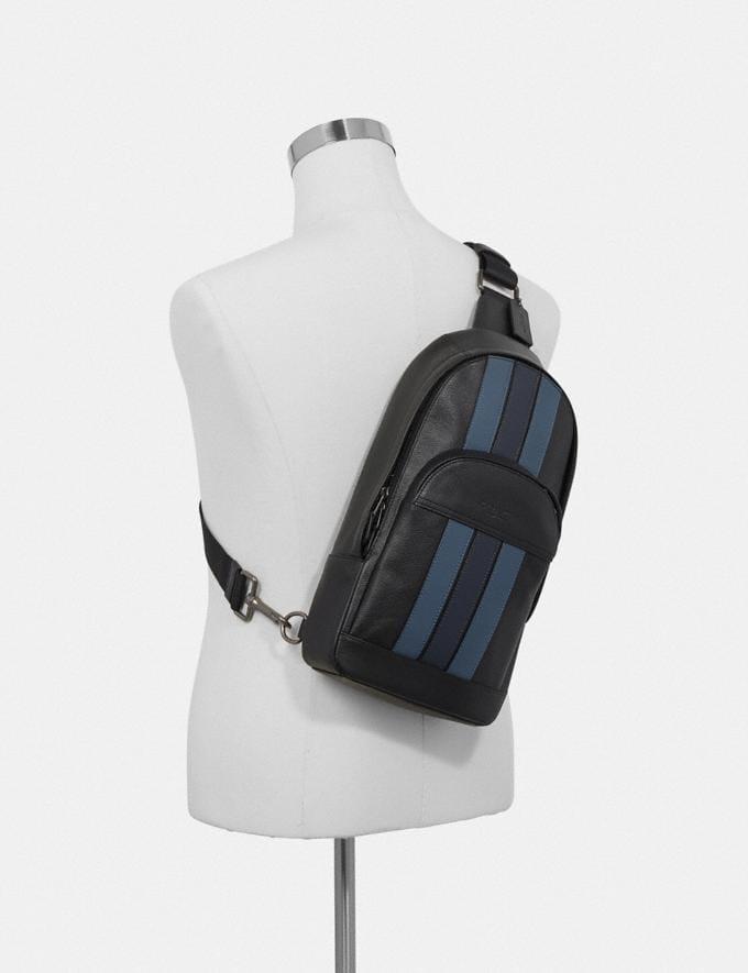 Coach Houston Pack With Varsity Stripe Black/Denim/Midnight Nvy/Black Antique Nickel Explore Men Explore Men Bags Alternate View 2