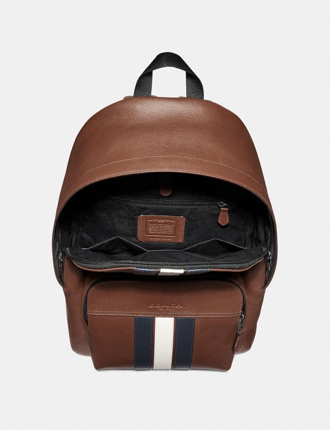 Coach Houston Backpack With Varsity Stripe Saddle/Midnight Nvy/Chalk/Black Antique Nickel Explore Men Explore Men Travel Alternate View 1