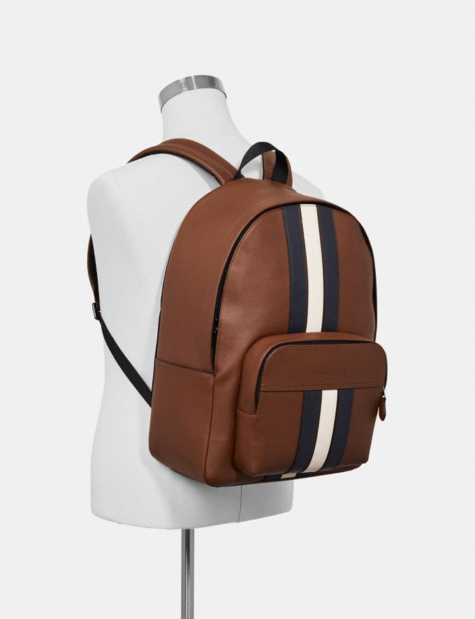Coach Houston Backpack With Varsity Stripe Saddle/Midnight Nvy/Chalk/Black Antique Nickel Explore Men Explore Men Travel Alternate View 2