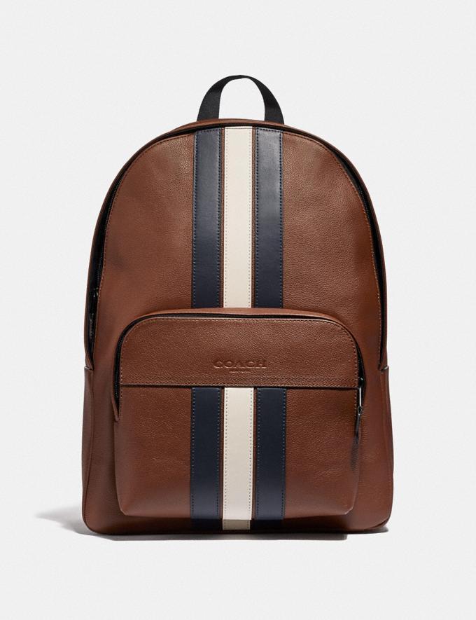 Coach Houston Backpack With Varsity Stripe Saddle/Midnight Nvy/Chalk/Black Antique Nickel Explore Men Explore Men Travel