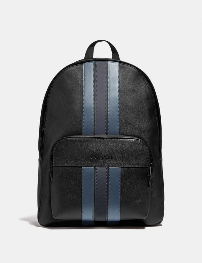 Coach Houston Backpack With Varsity Stripe Black/Denim/Midnight Nvy/Black Antique Nickel Explore Men Explore Men Bags