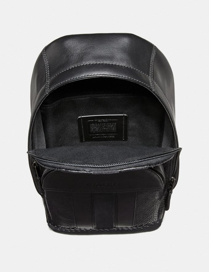 Coach Houston Pack With Baseball Stitch Black/Black Antique Nickel Men Bags Alternate View 1
