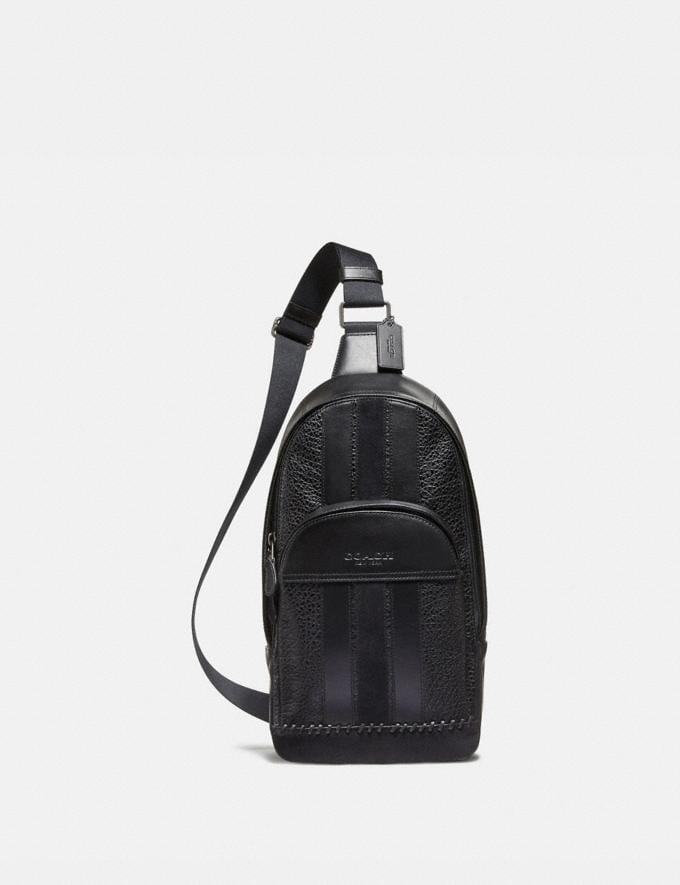 Coach Houston Pack With Baseball Stitch Black/Black Antique Nickel