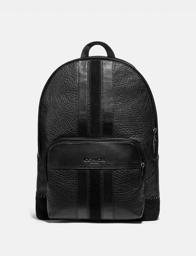 Coach Houston Backpack With Baseball Stitch Black/Black Antique Nickel