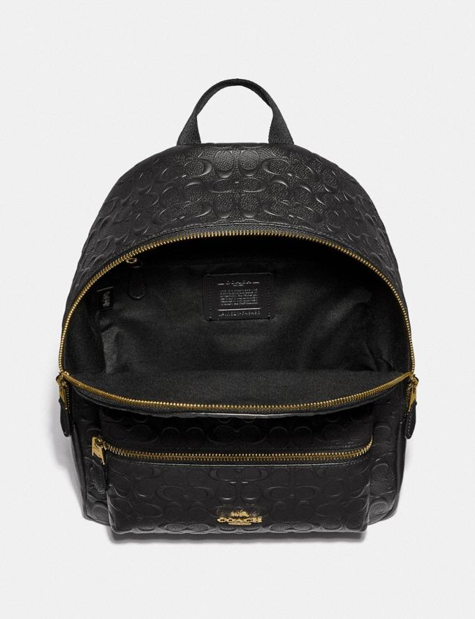Coach Medium Charlie Backpack in Signature Leather Im/Chalk  Alternate View 1
