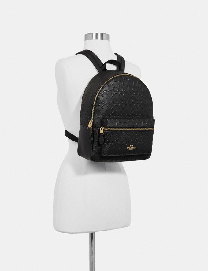 Coach Medium Charlie Backpack in Signature Leather Im/Chalk  Alternate View 2
