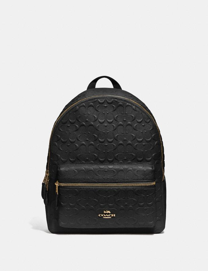 Coach Medium Charlie Backpack in Signature Leather Black/Imitation Gold