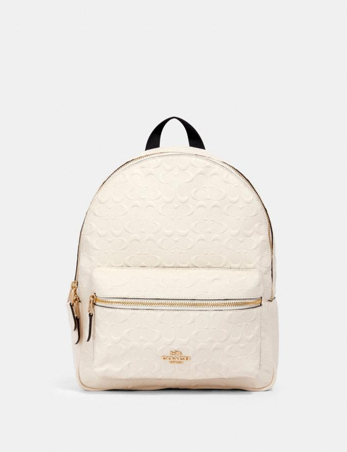 Coach Medium Charlie Backpack in Signature Leather Im/Chalk