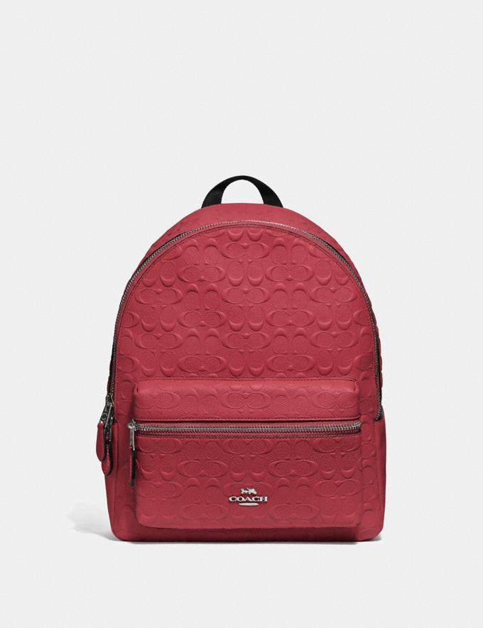 Coach Medium Charlie Backpack in Signature Leather Washed Red/Silver Explore Bags Bags Backpacks