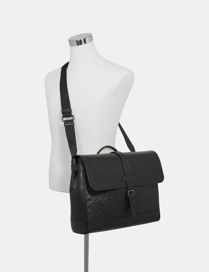 Coach Hudson Messenger in Signature Leather Black/Black Antique Nickel Explore Men Explore Men Bags Alternate View 2