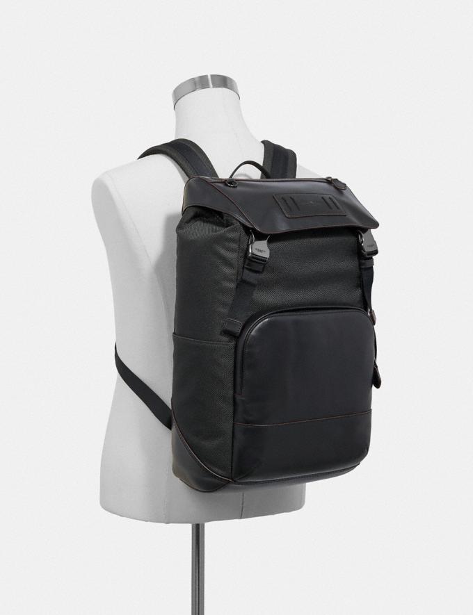 Coach Terrain Roll Top Backpack Black/Black Antique Nickel Men Bags Alternate View 2