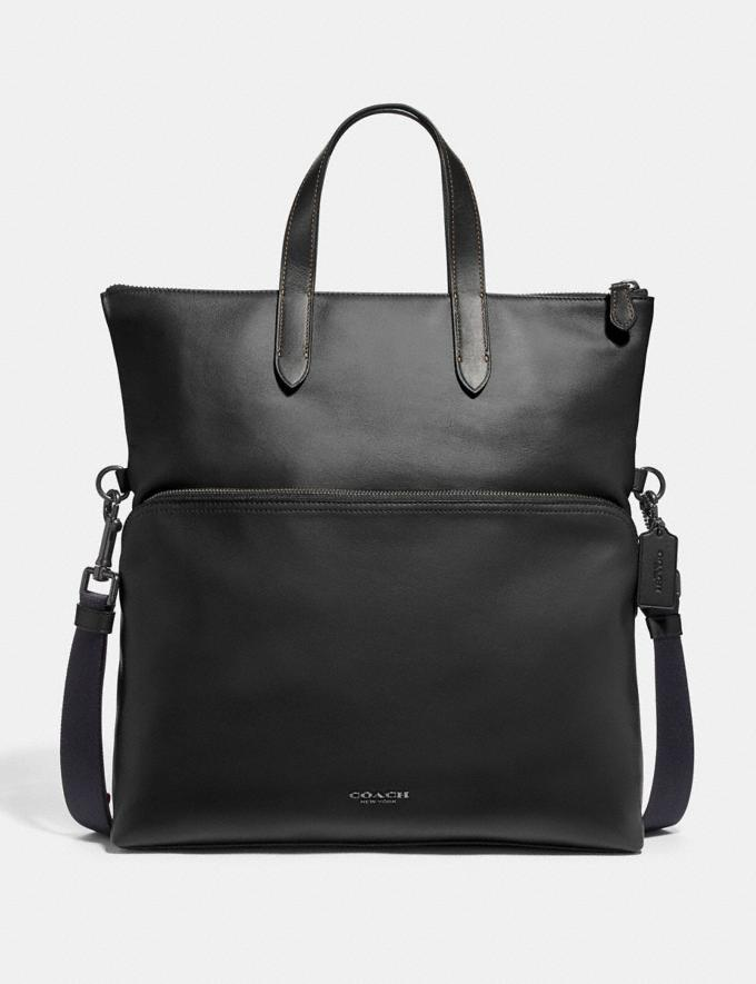 Coach Graham Foldover Tote Black/Black Antique Nickel Clearance Men