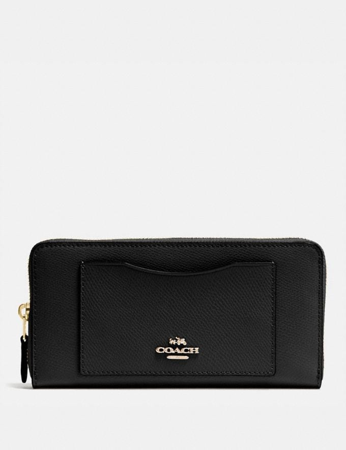 Coach Accordion Zip Wallet Black/Light Gold