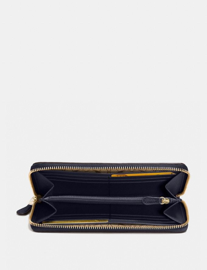 Coach Accordion Zip Wallet Midnight/Light Gold Accessories Wallets Alternate View 1