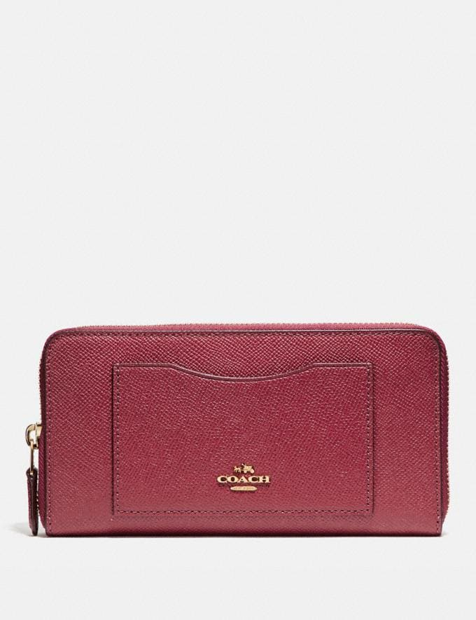 Coach Accordion Zip Wallet Rouge/Gold Accessories