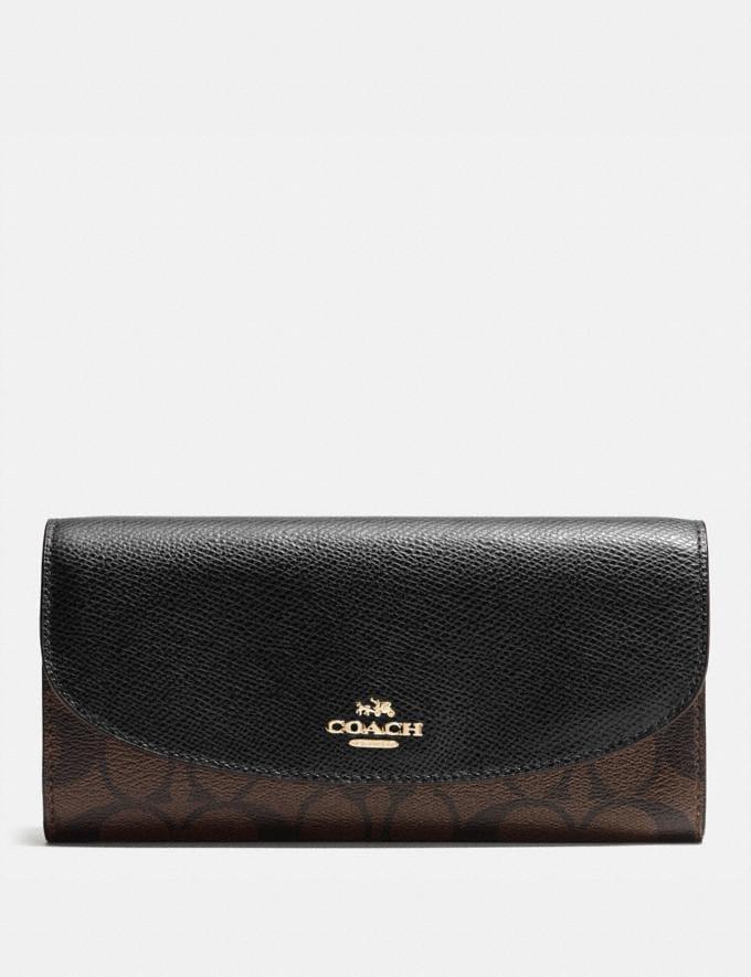 Coach Slim Envelope Wallet in Signature Canvas Brown/Black/Light Gold