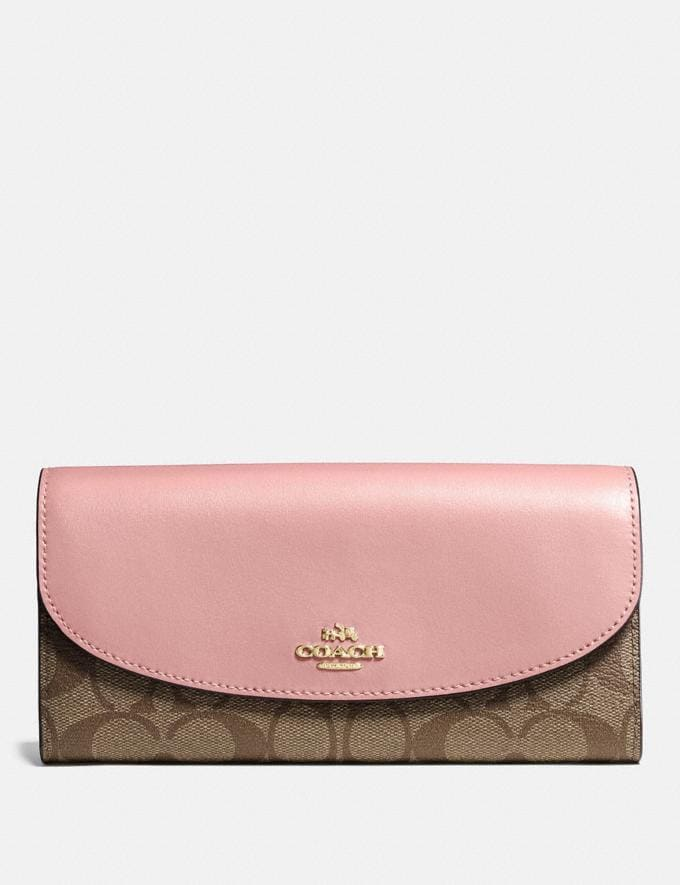 Coach Slim Envelope Wallet in Signature Canvas Im/Khaki Pink Petal Clearance Wallets & Wristlets