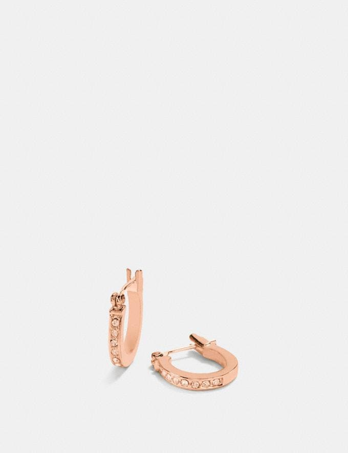 Coach Pave Signature Huggie Earrings Rosegold
