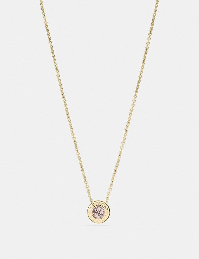 Coach Open Circle Stone Strand Necklace Gold