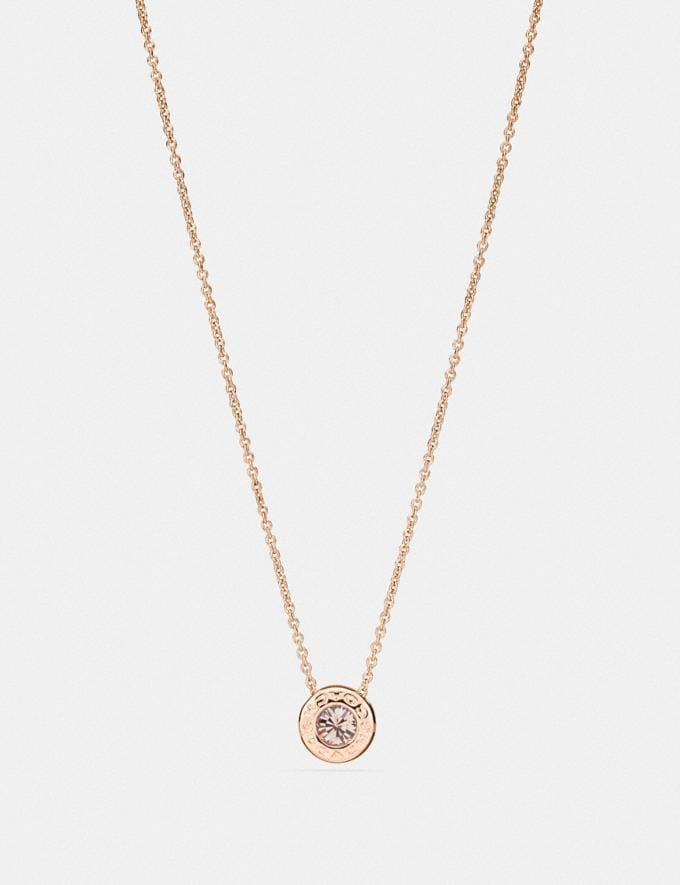 Coach Open Circle Stone Strand Necklace Rosegold