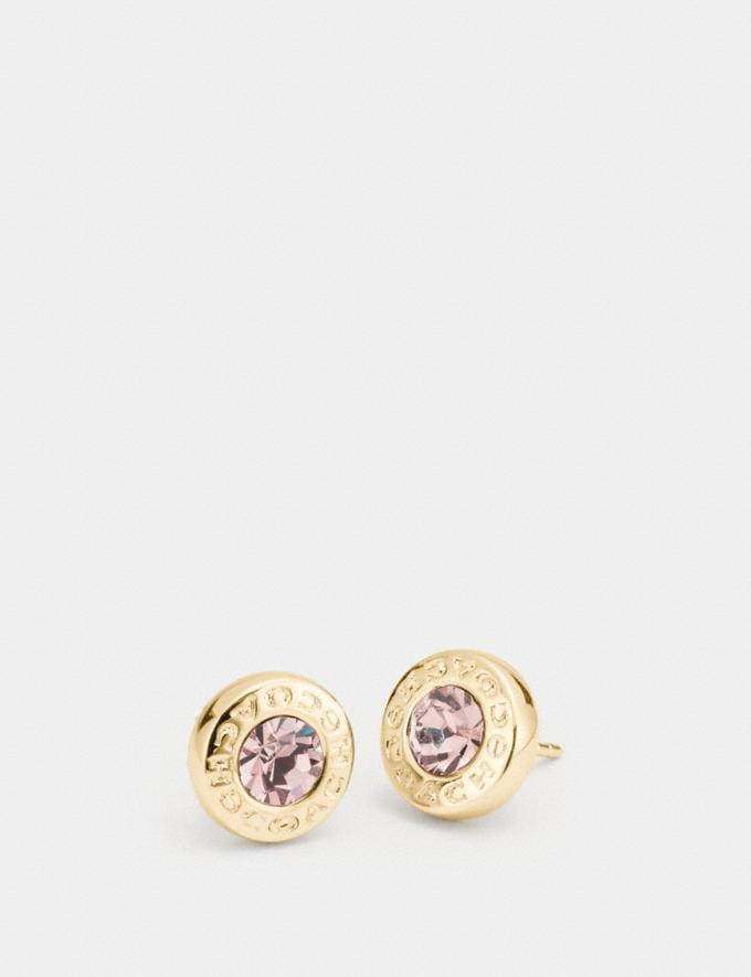 Coach Open Circle Stone Strand Earrings Gold