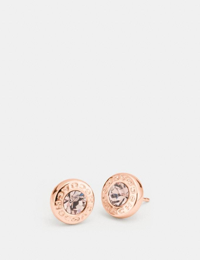 Coach Open Circle Stone Strand Earrings Rosegold