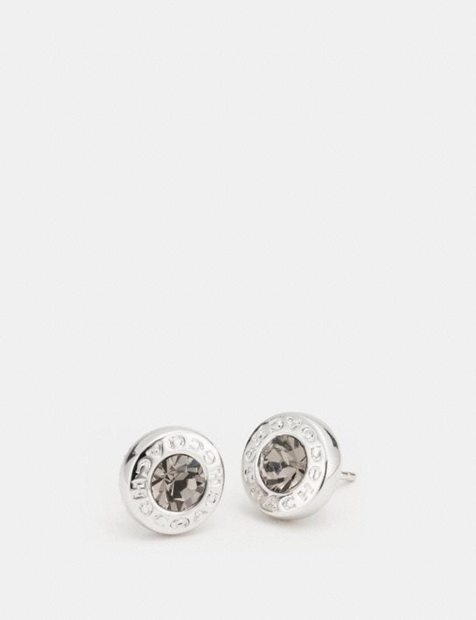 Coach Open Circle Stone Strand Earrings Silver