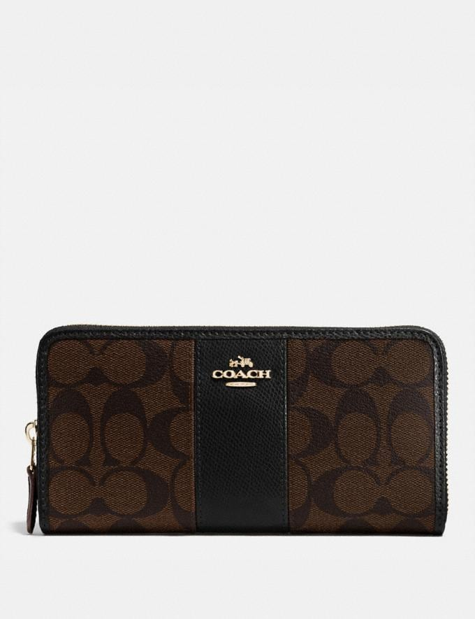 Coach Accordion Zip Wallet in Signature Canvas Brown/Black/Light Gold Deals Disappearing Deals