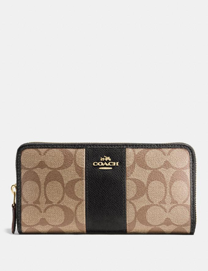 Coach Accordion Zip Wallet in Signature Canvas Khaki/Black/Imitation Gold Accessories Wallets
